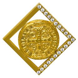 Gold St Benedict Pendant.