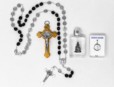 Mens St Benedict Rosary Gift Set.