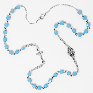 Miraculous Aqua Rosary Necklace