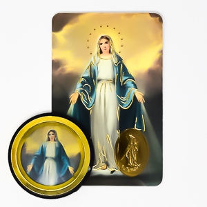 Miraculous Car Magnet & Prayer Card.