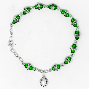 Green Miraculous Crystal Rosary Bracelet.