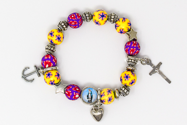 Heart Cross Anchor Rosary Bracelet.