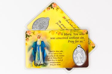 Miraculous Laminated Prayer Card & Medal.