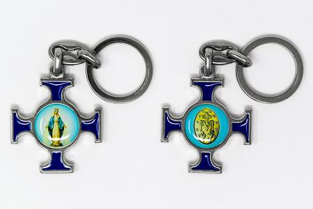 Miraculous Medal Cross Key Ring.