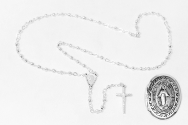 Miraculous medal rosary box & Rosary Beads.