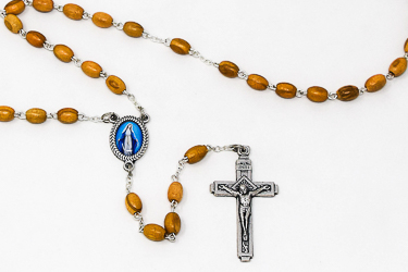 Our Lady of Grace Wood Rosary Beads..
