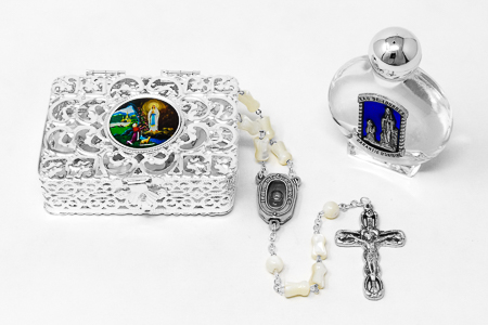 Mother of Pearl  Lourdes Water Rosary Gift Set