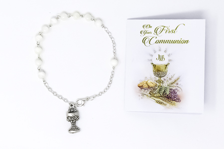 Mother of Pearl Chalice Rosary Bracelet.