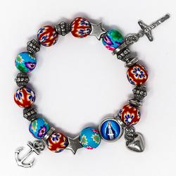 Miraculous Heart Cross Anchor Rosary Bracelet.