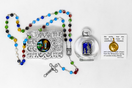 Munrano Rosary & Lourdes Water Gift Set.