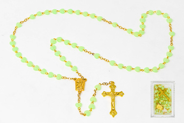 My Lourdes Water luminous Heart Rosary Beads