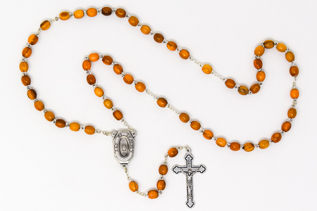Olive Wooden Lourdes Water Rosary.