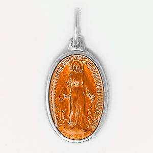 Orange Enamel Miraculous Medal.