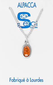 Orange Miraculous Medal Necklace.