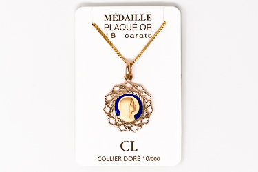 Our Lady of Lourdes Necklace with Scalloped Edges.