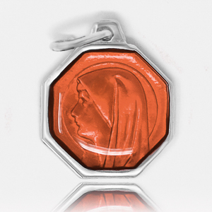 Orange Our Lady of Lourdes Medal.