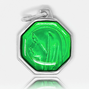 Green Our Lady of Lourdes Medal.