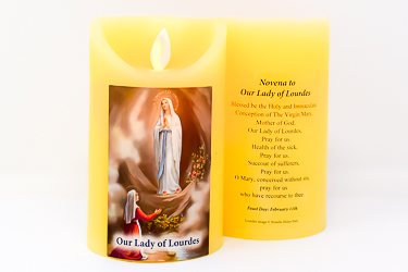 Our Lady of Lourdes Wax Candle.
