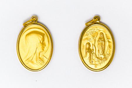 Gold Oval Lourdes Pendant.