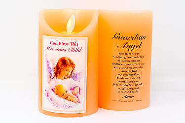 Pink Guardian Angel Wax Candle.