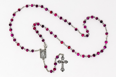 Pink Lourdes Rosary Beads