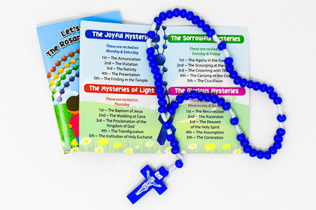 Rosary Booklet & Blue Wooden Rosary.