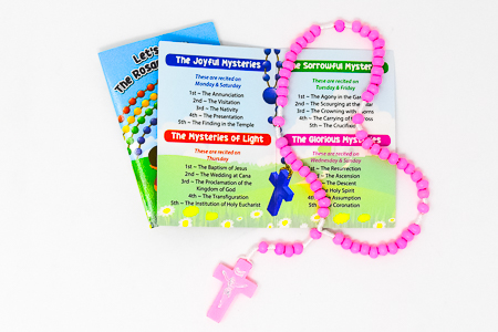 Rosary Booklet & Pink Wooden Rosary.