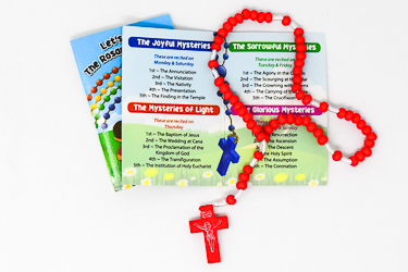 Rosary Booklet & Red Wooden Rosary.