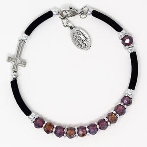 Purple Crystal Rosary Bracelet.