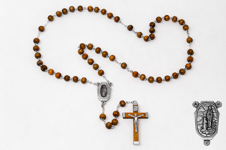 Olive Wood Lourdes Water Rosary Beads.