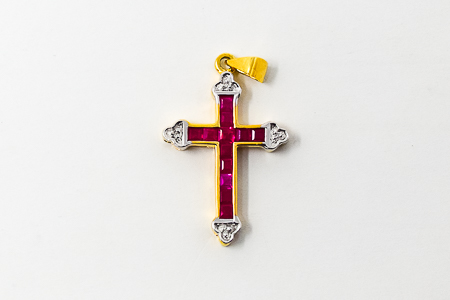 Real Ruby with Diamonds Gold Cross.