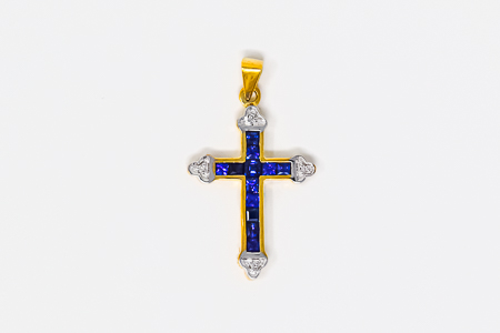 Real Sapphire with Diamonds Gold Cross.