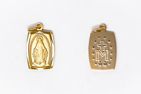 Rectangular Gold Miraculous Medal