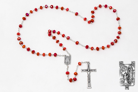Red Crystal Diamond Cut Lourdes Rosary Beads