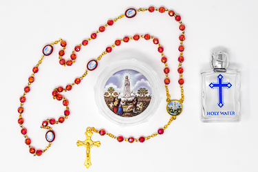 Red Crystal Our Lady of Fatima Rosary Beads.