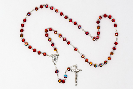 Red Glass Rosary Beads.