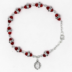 Red Miraculous Crystal Rosary Bracelet.