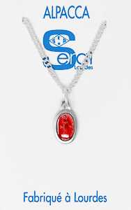 Red Miraculous Medal Necklace.
