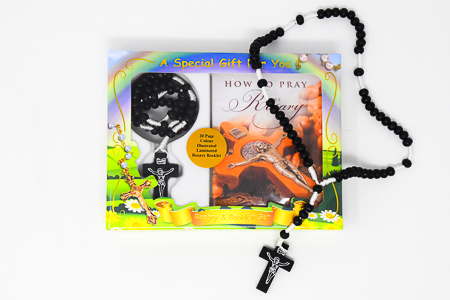 Rosary Booklet & Black Wooden Rosary.