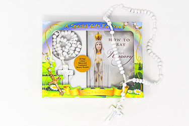 Rosary Booklet & White Wooden Rosary.