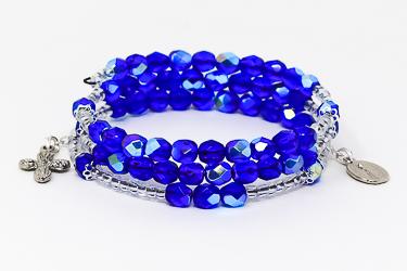 Memory Wire Rosary Bracelet Blue.