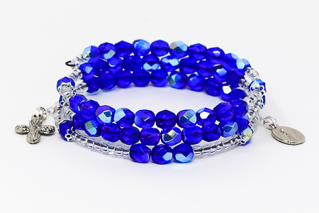 Memory Wire Rosary Bracelet Blue.