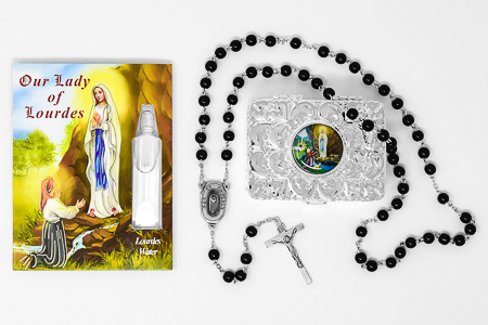 Rosary Gift Set with Lourdes Water Vial.