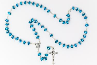 Rose Metal Aqua Lourdes Rosary.