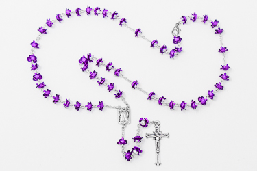 Rose Metal Purple Lourdes Rosary.