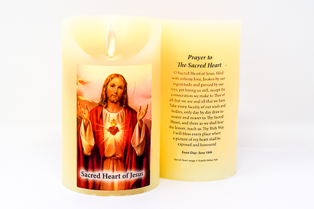 Sacred Heart of Jesus Wax Candle.