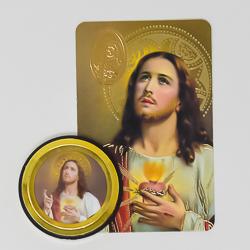 Sacred Heart of Jesus Car Magnet & Prayer Card.