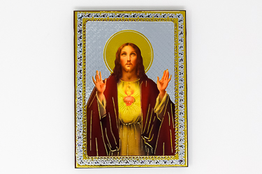 Sacred Heart of Jesus Gold Foil Wall Plaque.