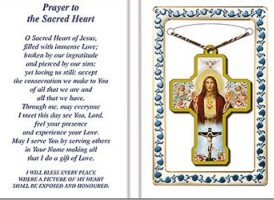 Sacred Heart of Jesus Keepsake Necklace & Prayer.