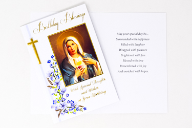 Sacred Heart of Mary Birthday Card.